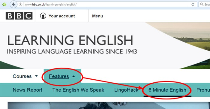 BBC Learning English menu