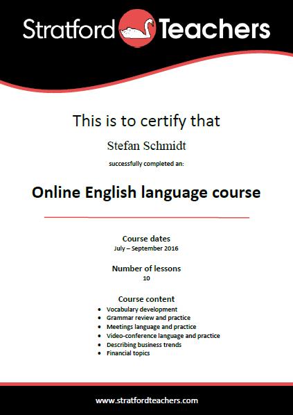 Stratford Teachers certificate