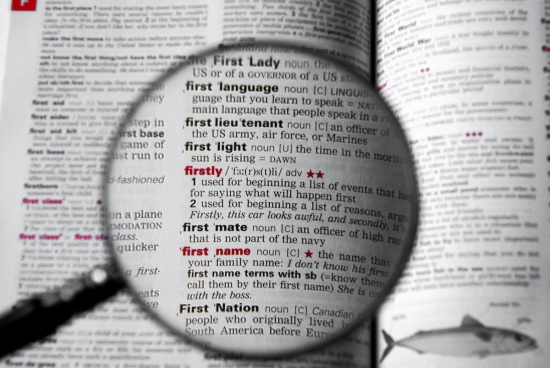 Magnifying glass over Macmillan Learner's Dictionary